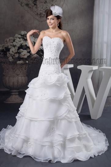 A-Line Strapless Beaded Embroidered Chapel Train Wedding Dresses