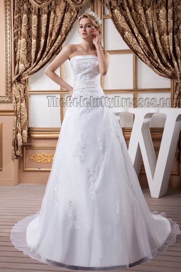 A-Line Strapless Beaded Embroidered Sweep/Brush Train Wedding Dress