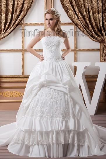 A-Line Strapless Beaded Embroidered Taffeta Wedding Dresses