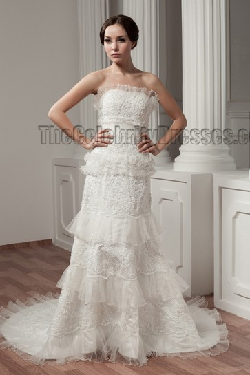 A-Line Strapless Chapel Train Beaded Lace Up Wedding Dresses
