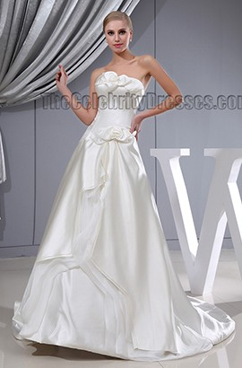 A-Line Strapless Chapel Train Lace Up Wedding Dresses