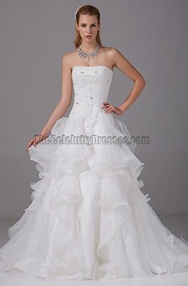 A-line Strapless Chapel Train Organza Tiered Wedding Dress