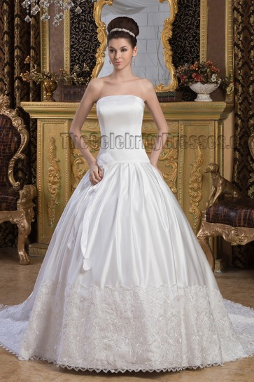 A-Line Strapless Embroidered Chapel Train Wedding Dresse