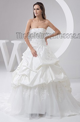 A-Line Strapless Embroidery Chapel Train Wedding Dresses