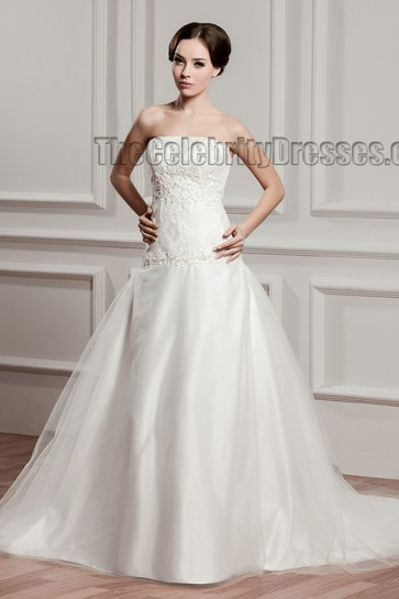 A-Line Strapless Lace Chapel Train Organza Wedding Dresses