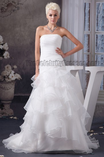 A-Line Strapless Organza Chapel Train Wedding Dress
