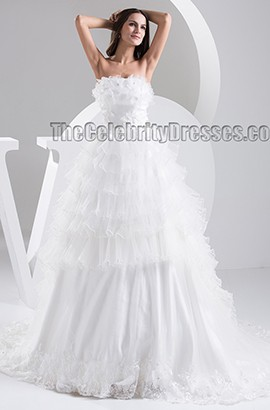 A-Line Strapless Organza Chapel Train Wedding Dress Bridal Gown