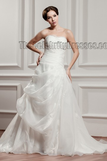 A-Line Strapless Organza Sweetheart Chapel Train Wedding Dresses