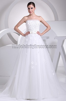 A-Line Strapless Organza Wedding Dress With Small Flowers