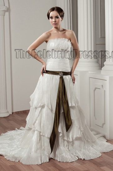 A-Line Strapless Ruffles Chapel Train Wedding Dress Bridal Gown