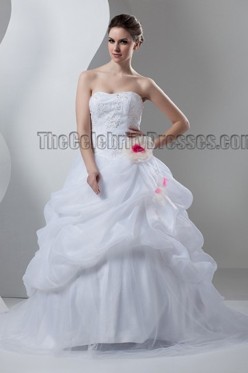 A-Line Strapless Sweetheart Beaded Sweep/Brush Train Wedding Dress