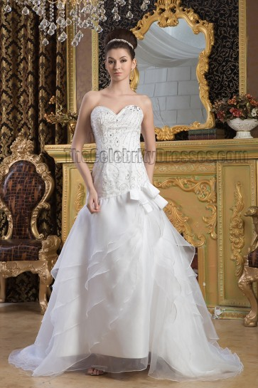 A-Line Strapless Sweetheart Beaded Sweep Brush Train Wedding Dress