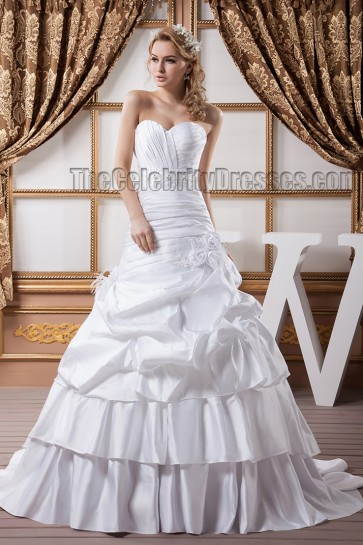 A-Line Strapless Sweetheart Beaded Taffeta Wedding Dresses
