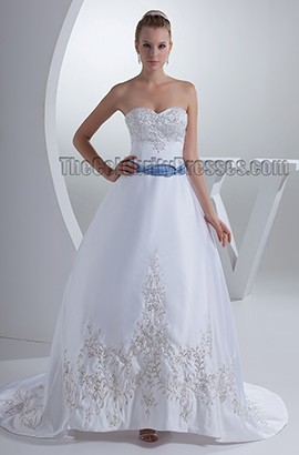 A-Line Strapless Sweetheart Chapel Train Embroidered Wedding Dress