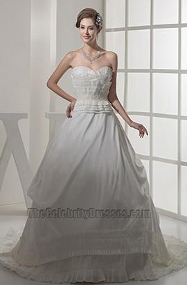A-Line Strapless Sweetheart  Ruffles Chapel Train Wedding Dress
