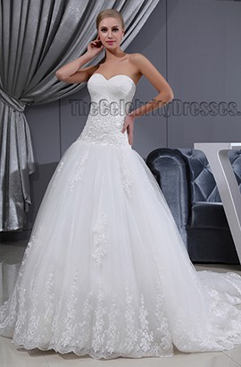 A-Line Strapless Sweetheart Chapel Train Wedding Dresses