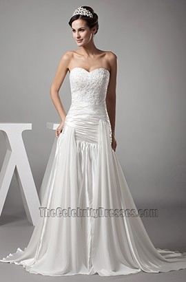 A-Line Strapless Sweetheart Embroidery Wedding Dresses