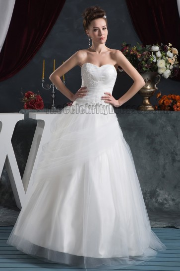 A-Line Strapless Sweetheart Floor Length Wedding Dresses