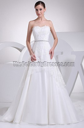 Elegant A-Line Strapless Sweetheart Lace Wedding Dresses