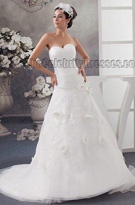 A-Line Strapless Sweetheart Organza Lace Up Wedding Dresses