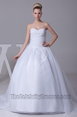 A-Line Strapless Sweetheart Taffeta Wedding Dress Ball Gown