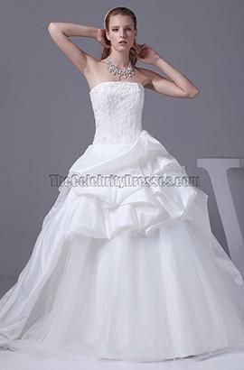 A-Line Strapless Taffeta Chapel Train Wedding Dresses