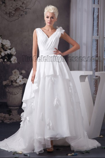 A-Line Strapless V-Neck Sweep Brush Train Wedding Dresses Bridal Gown