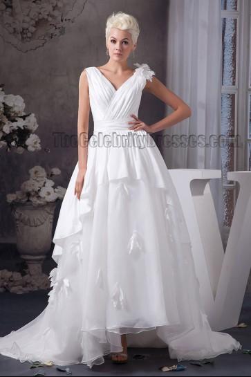 A-Line Strapless V-Neck Sweep Brush Train Wedding Dresses Bridal Gown