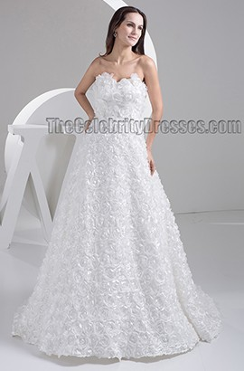 A-Line Sweep /Brush Train Sweetheart Strapless Wedding Dresses