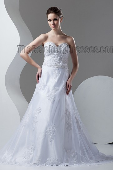 A-Line Sweetheart Strapless Beaded Chapel Train Wedding Dress
