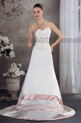 A-Line Sweetheart Strapless Chapel Train Bridal Gown Wedding Dress