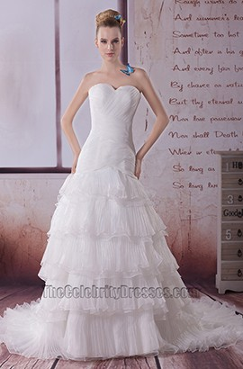 A-Line Sweetheart Strapless Organza Wedding Dress