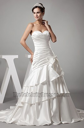 A-Line Sweetheart Strapless Chapel Train Wedding Dresses