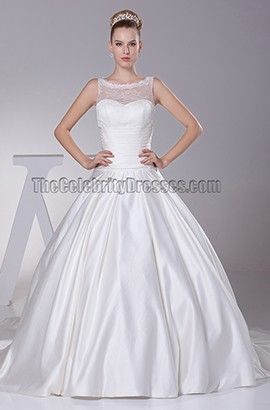 A-Line Tulle Taffeta Chapel Train Wedding Dresses