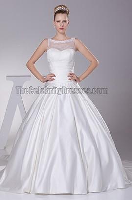 A-Line Tulle Taffeta Chapel Train Wedding Dresses