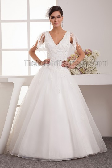 A-Line V-Neck Beaded Floor Length Wedding Dresses