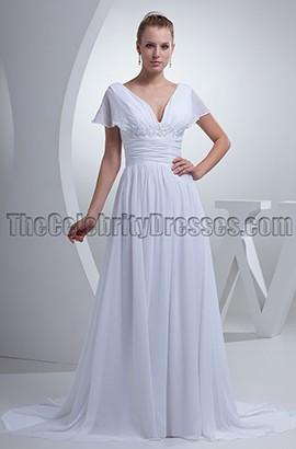 Elegant A-Line V-Neck Cap Sleeve Wedding Dresses