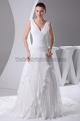 A-Line V-Neck Chiffon Chapel Train Wedding Dresses