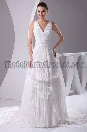 A-Line V-Neck Chapel Train Wedding Dress Bridal Gown