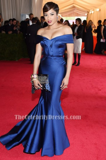 Alicia Quarles Blue Mermaid Off-the-shoulder Formal Dress 2014 Met Gala Red Carpet TCD6244