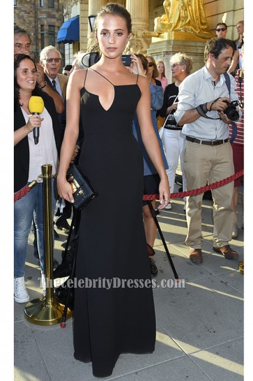 Alicia Vikander Black Evening Dress 'Jag ar Ingrid' ('I Am Ingrid') Stockholm Premiere TCD6182