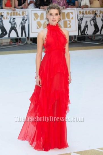 Amber Heard Red Evening Formal Dress 'Magic Mike XXL' London Premiere TCD6196