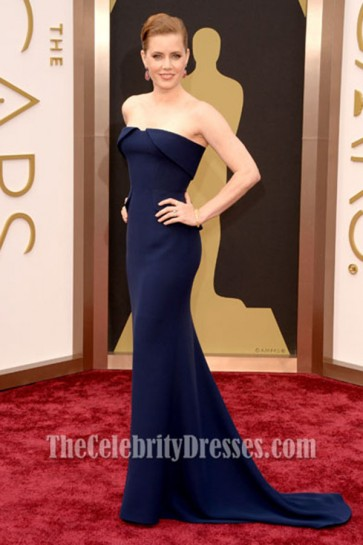 Amy Adams Strapless Formal Dress Oscars 2014 Red Carpet