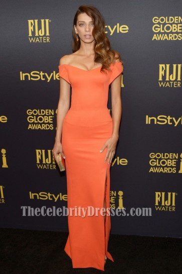 Angela Sarafyan Orange Off-the-Shoulder Evening Dress Hollywood Foreign Press Association