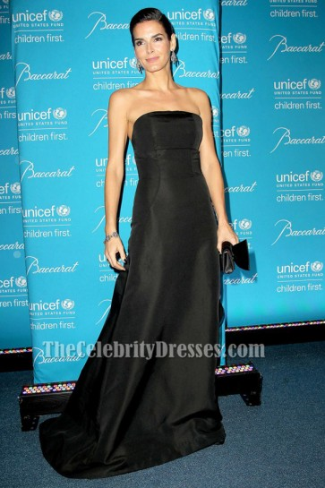 Angie Harmon Black Strapless Evening Dress Tenth Annual UNICEF Snowflake Ball TCD6419
