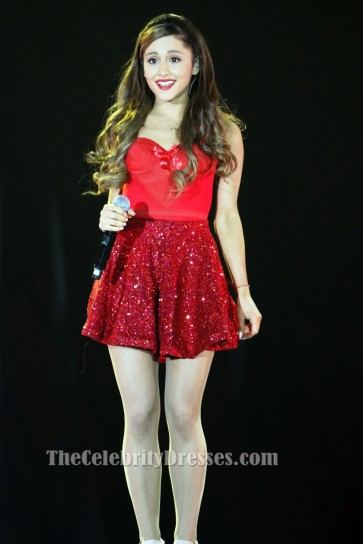 Ariana Grande Short Red Party Sweet 16 Dresses Justin Bieber's Believe Tour 2013