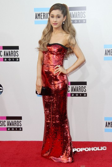 Ariana Grande Red Sequined Evening Dress 2013 American Music Awards