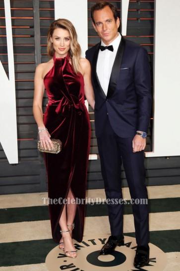 Arielle Vandenberg Red Halter Evening Dress Oscars 2015 Red Carpet Gown TCD6479