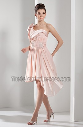 Pearl Pink Asymmetric One Shoulder Short Party Cocktail Dresses