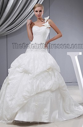 Ball Gown One Shoulder Lace Chapel Train Wedding Dresses